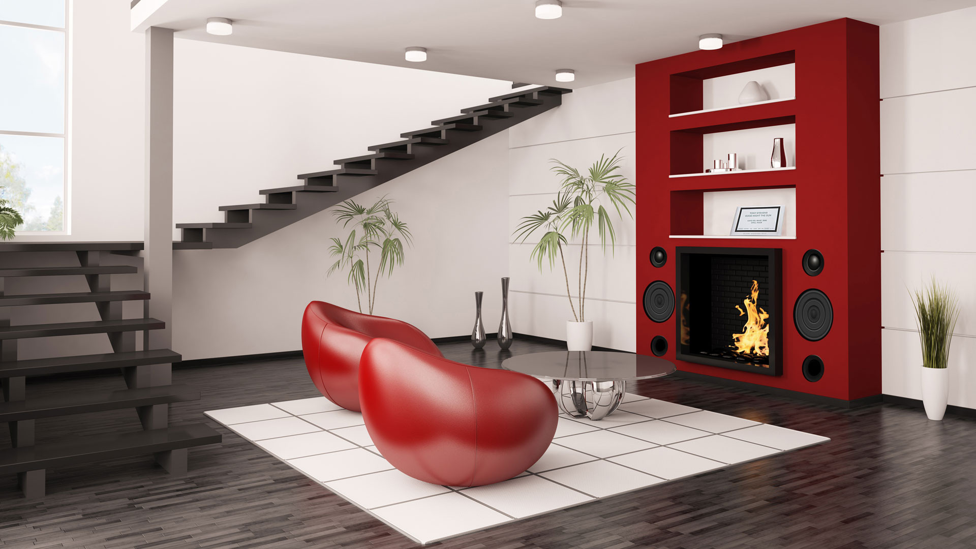 Z-Productions: Sound Design. Design concept for the perfect musical enjoyment with room-designing fireplace furniture.