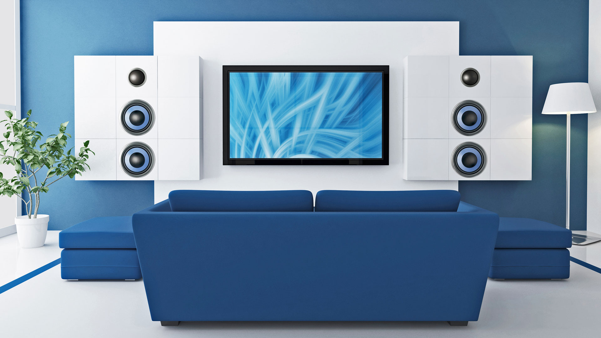 Blue Room: Sound concept for home cinema.