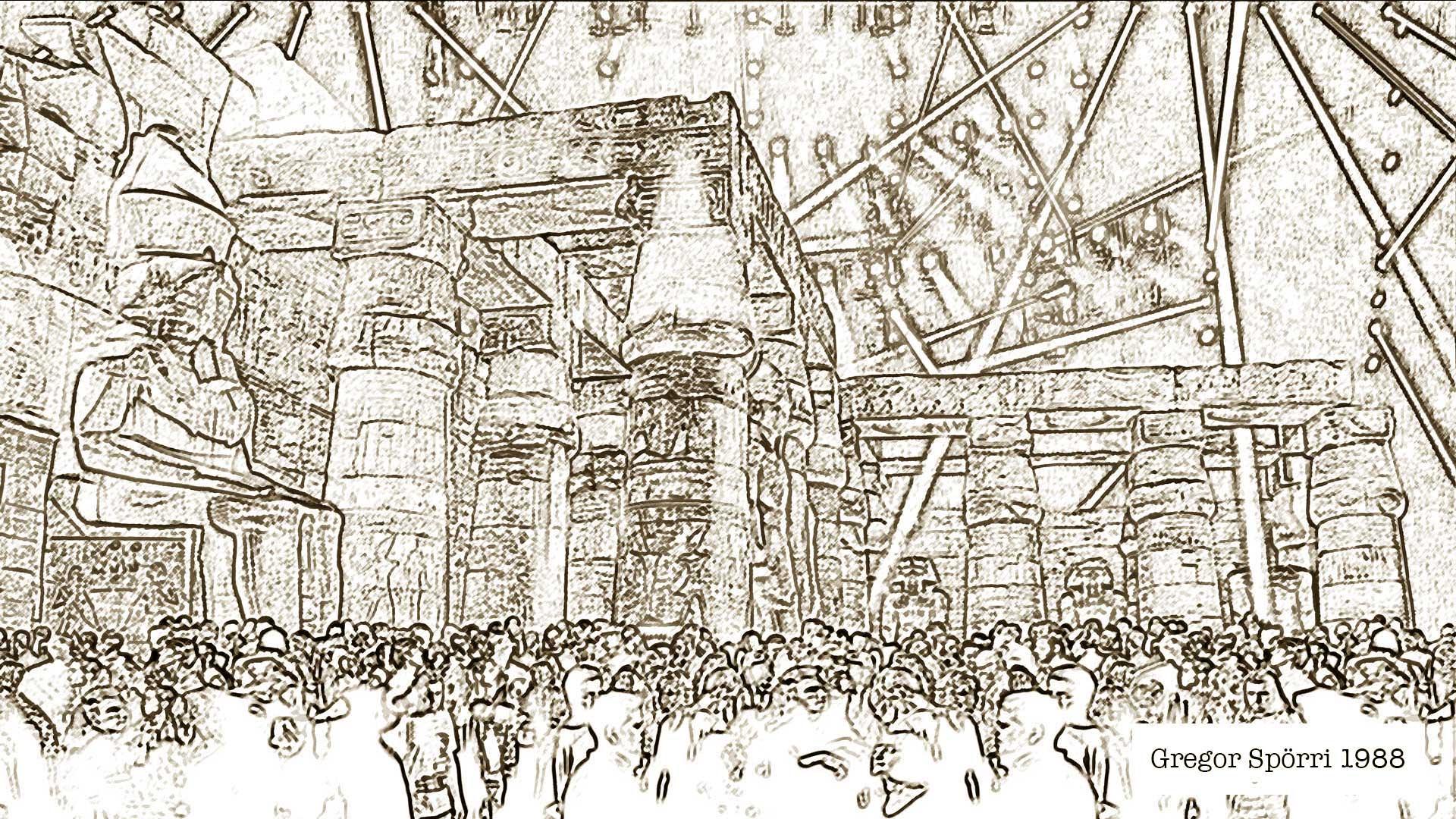 Gregor Spörris Konzeptstudie eines Disco-Clubs im altägyptischen Stil (1988).
