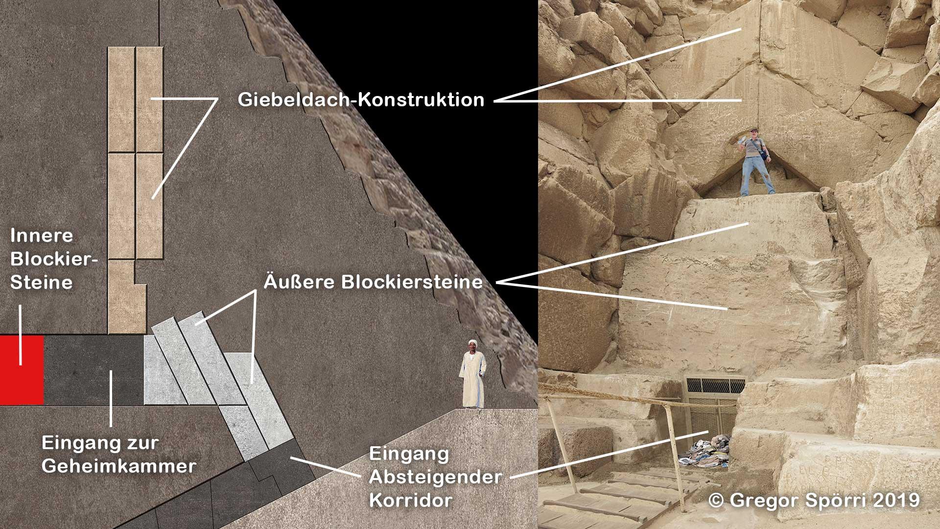 Cheops-Pyramide: Geheime Kammer hinter dem Original-Eingang.