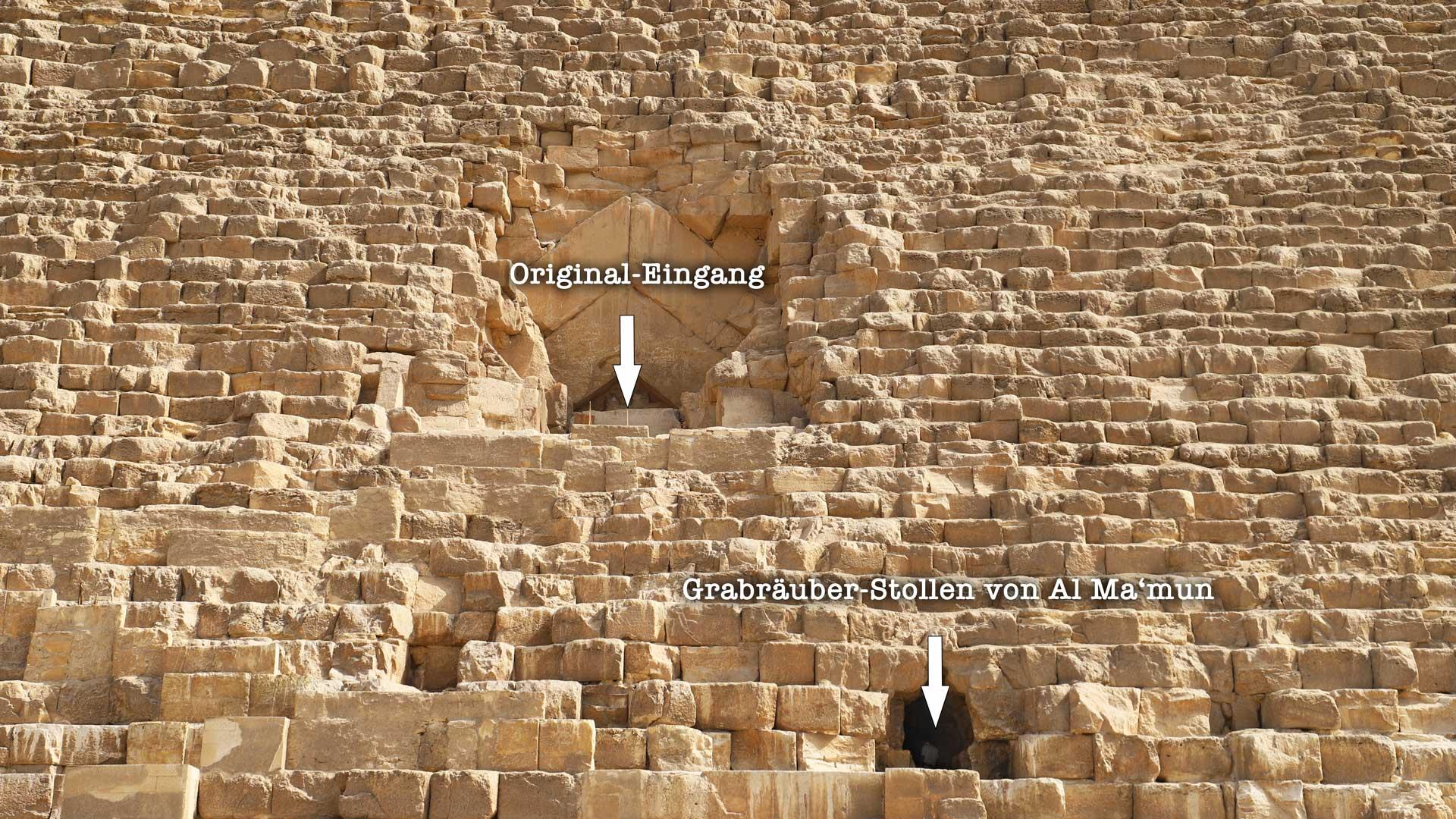 Die Große (Cheops) Pyramide: Ursprünglicher Original-Eingang und der Al-Ma'mun Grabräuber-Stollen.