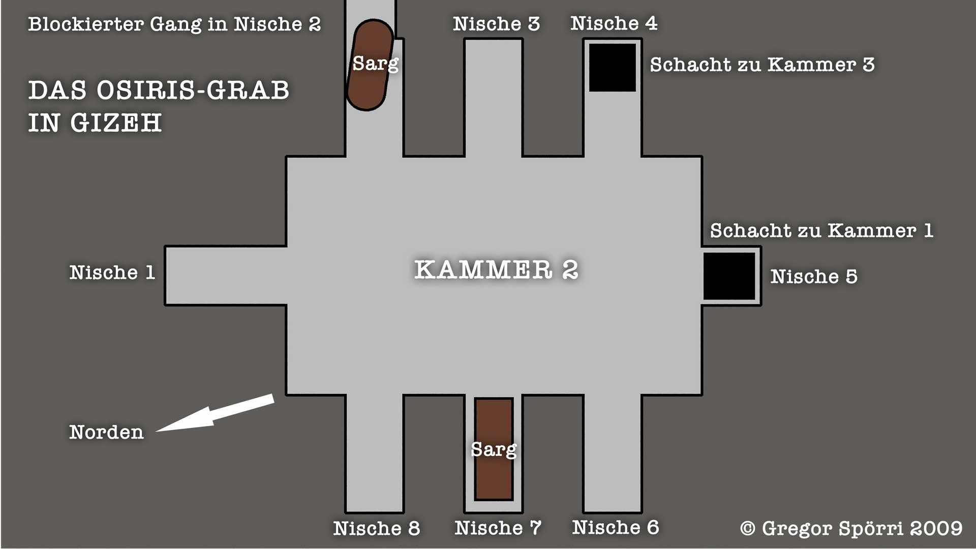 Illustration, Plan, Karte der Ebene / Kammer zwei.