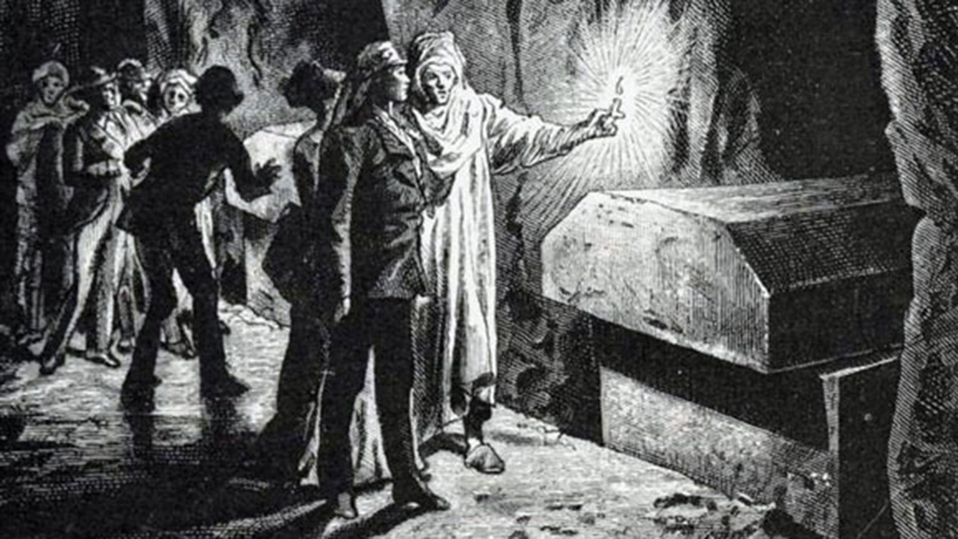 Auguste Mariette wonders: The lids of the coffins are all pushed aside (Historical drawing)