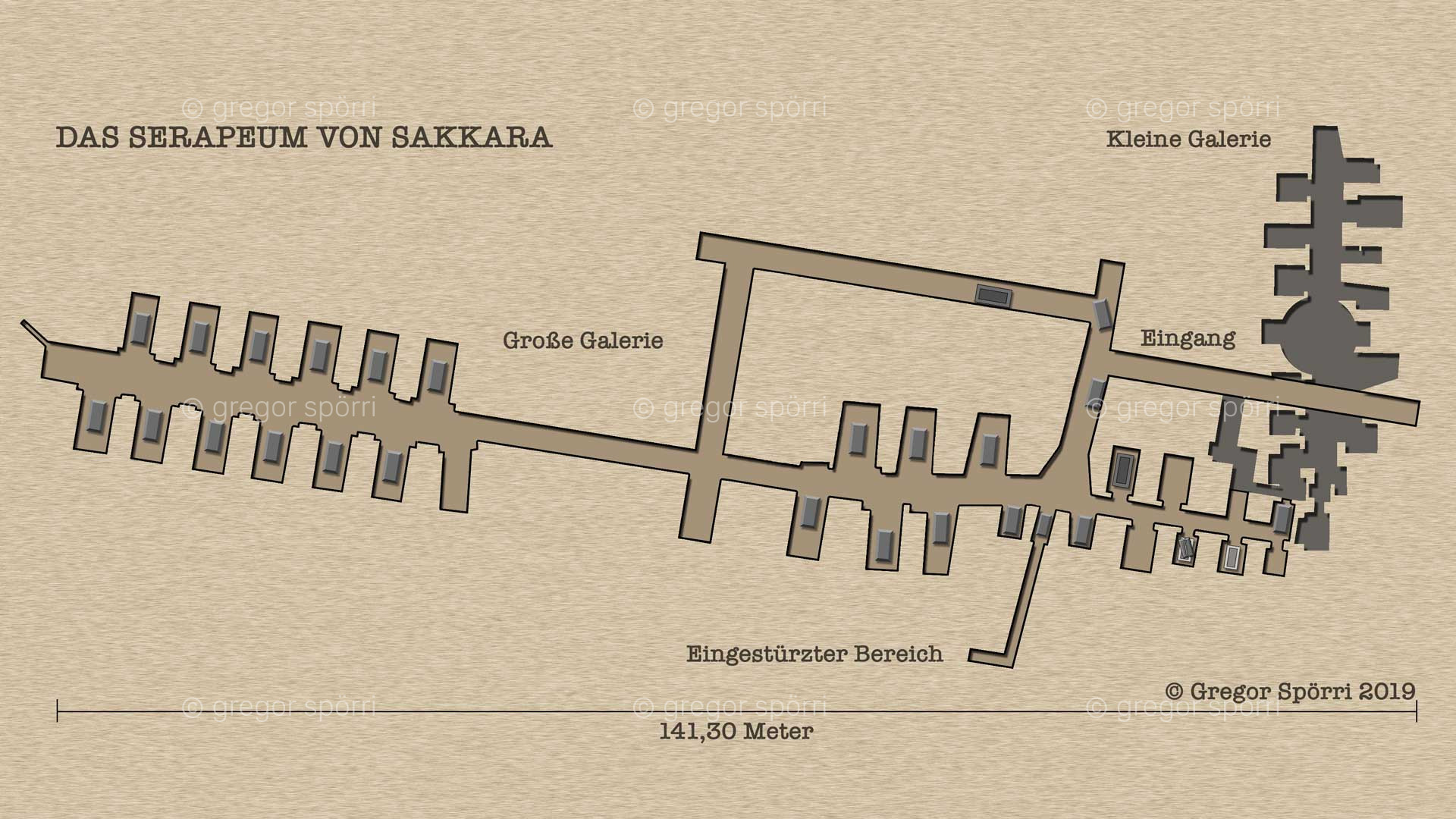 Serapeum Sakkara: Illustration, Grundriss-Plan, Map der unterirdischen Nekropole.