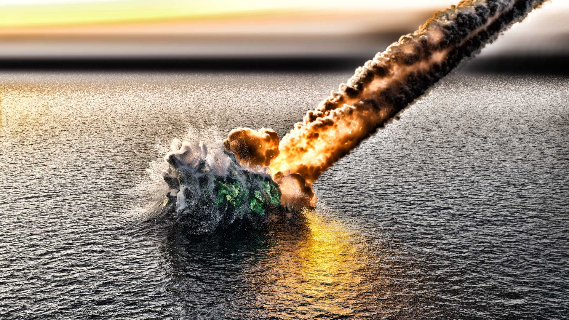 Apocalypse - the Last Judgment: UFO lander crashes into the sea.