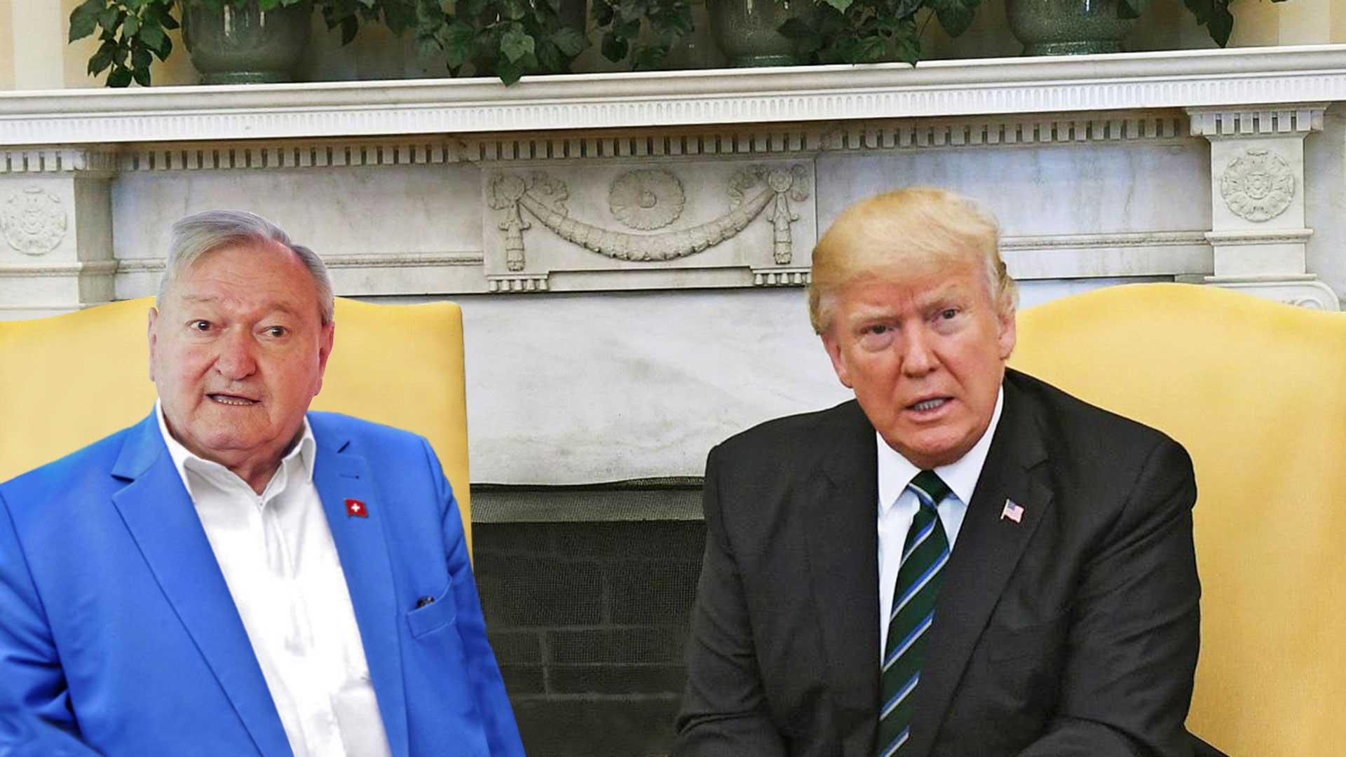 Erich von Däniken und Donald Trump im Weißen Haus.