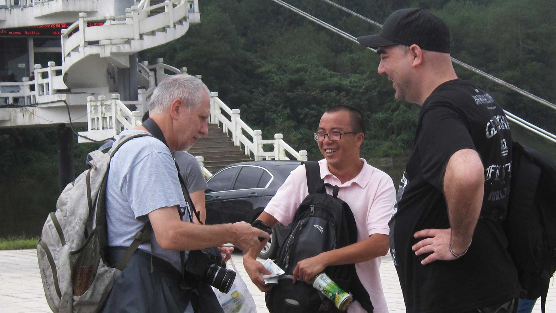 Mystery researchers Luc Bürgin and Gregor Spörri in Huangshan, China.