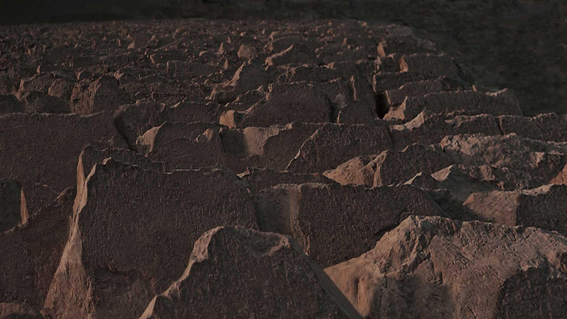 Auf der Cheops-Pyramide mit Blick von der Spitze hinunter auf das Gizeh-Pl