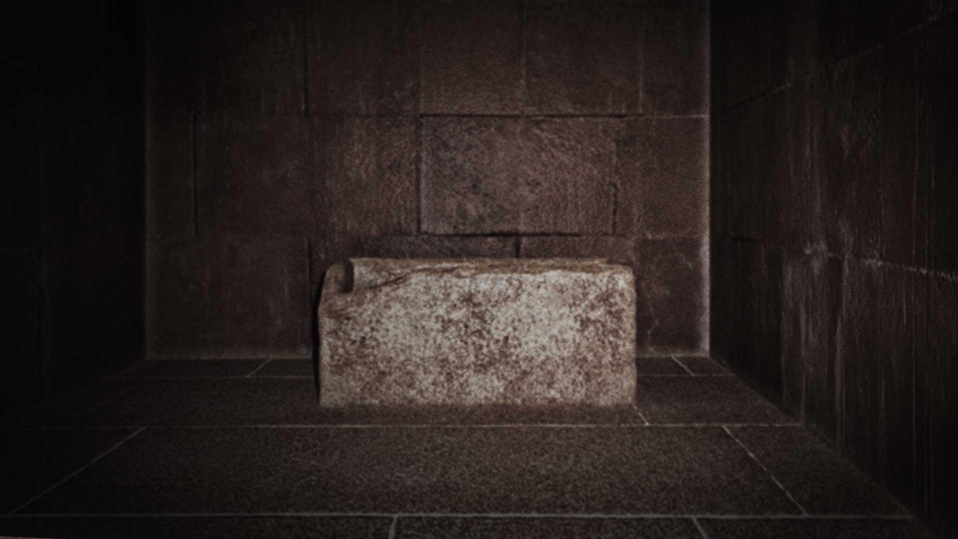 Sarkophag in der Königskammer der Großen (Cheops) Pyramide.