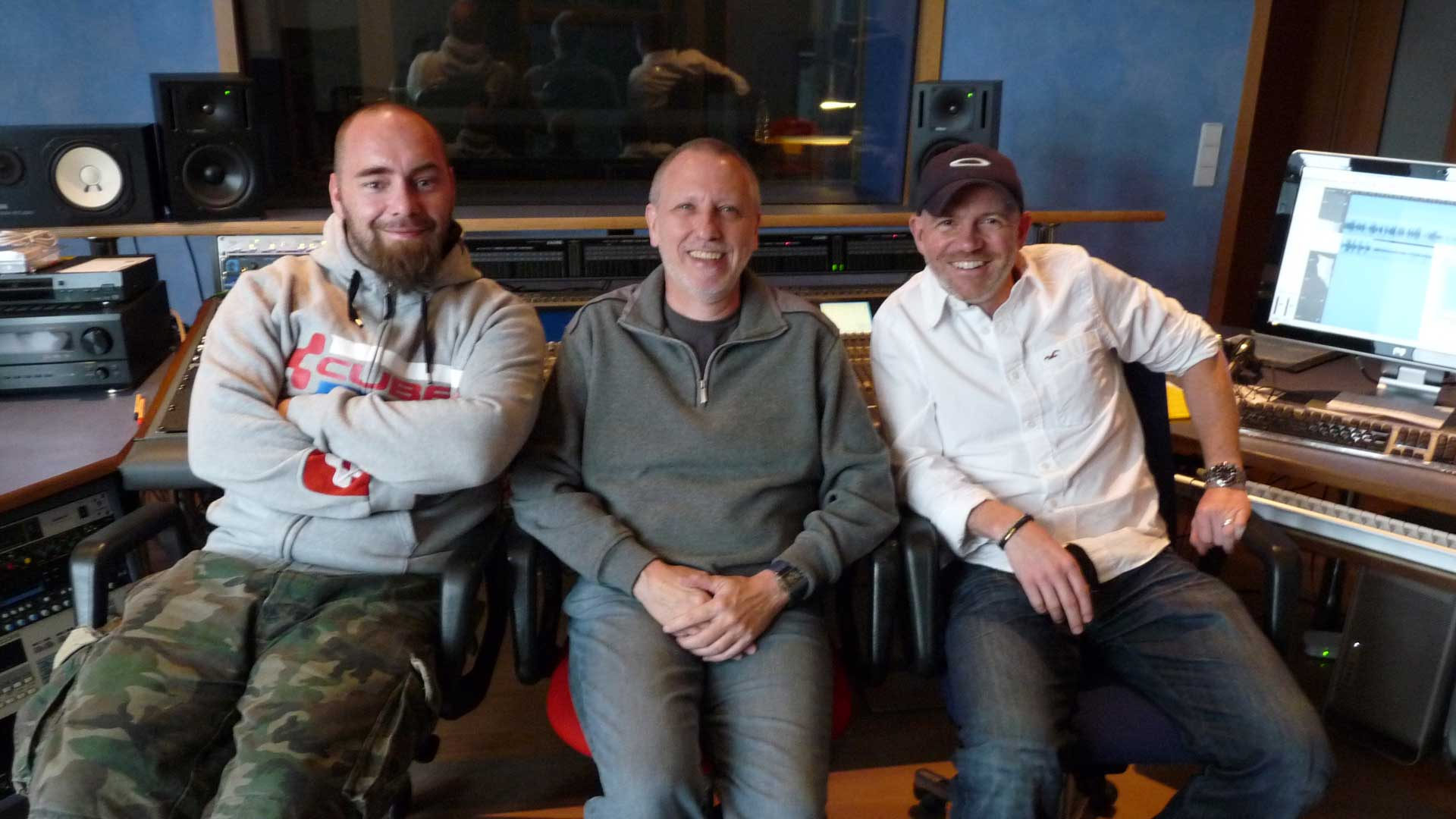 Gregor Spörri with Dietmar Wunder and Kai Lüftner at the Word recording studio in Berlin.