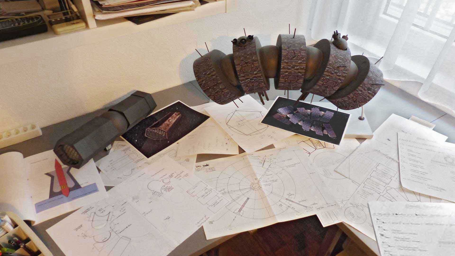 Sketches and spaceship models for LOST GOD.