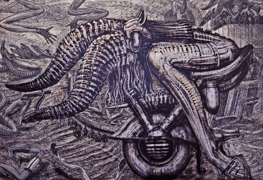 Airbrush lithography by H.R. Giger: Zodiac Taurus.